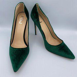 Green Suede Stiletto Heels Pointy Toe Dressy Pumps